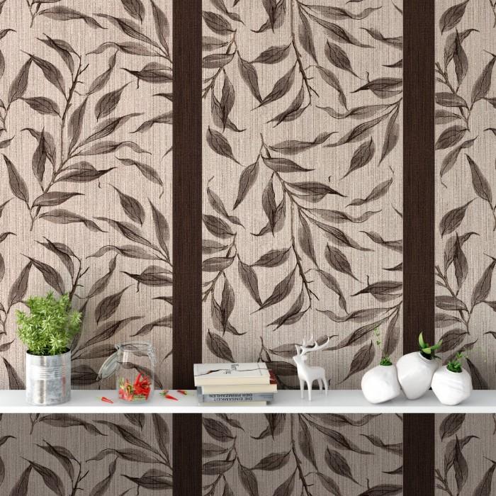 Sarmaşık Yaprakları Çizgili Duvar Kağıdı Kahve