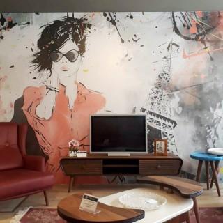 Moda Kadın Graffiti Duvar Kağıdı