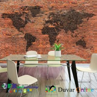 Tuğla Duvar Dünya Haritası Graffiti