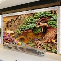 3D Ahşap Oyma Desenli Duvar Kağıdı