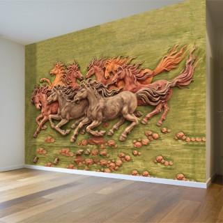 Kabartma Atlar 3D Duvar Kağıdı