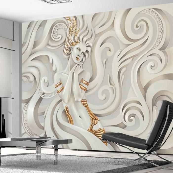3D Kabartma Kadın Desenli Duvar Kağıdı