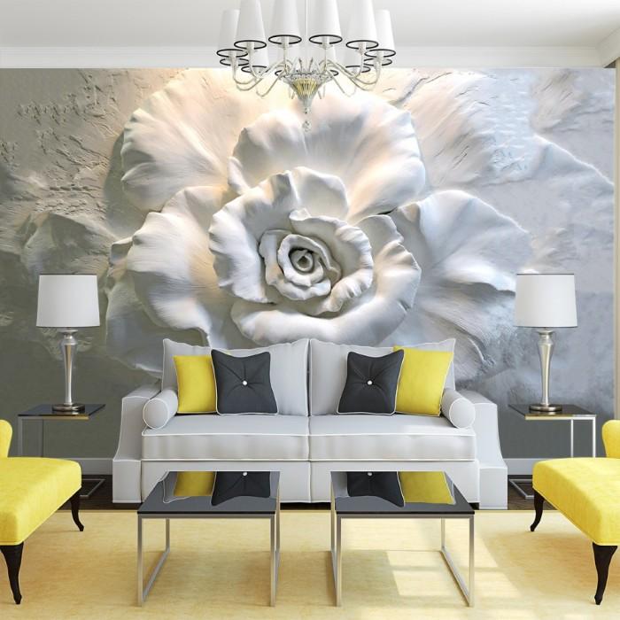 3D Kabartma Gül Desenli Duvar Kağıdı
