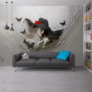 Kabartma Şapkalı Kadın 3D Duvar Posteri Siyah