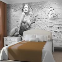 Kabartma Görünümlü Deniz ve Kadın Duvar Kağıdı Gri