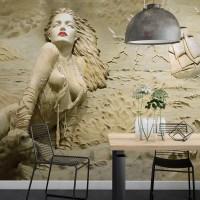 Kabartma Görünümlü Deniz ve Kadın Duvar Kağıdı