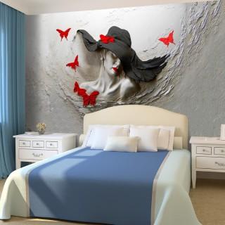 Kabartma Şapkalı Kadın 3D Duvar Posteri Renkli