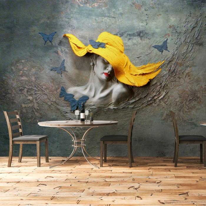 Kabartma Şapkalı Kadın 3D Duvar Posteri Sarı