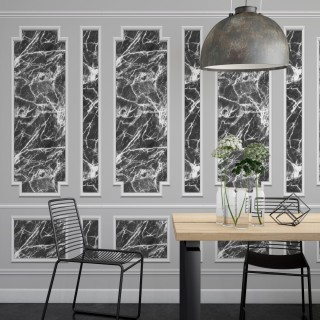 Siyah Mermer ve Çerçeve 3D Duvar Kağıdı