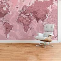 Dünya Haritası Duvar Posteri Gül