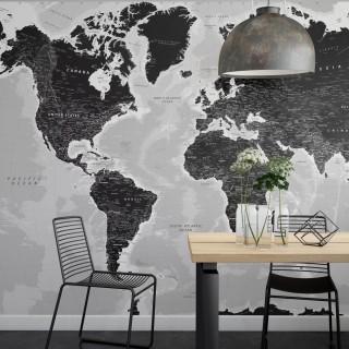 Dünya Haritası Duvar Posteri Siyah