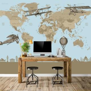 Özel Tasarım Çocuk Odası Mavi Dünya Haritası Duvar Kağıdı