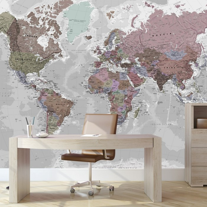 Dünya Haritası Duvar Posteri Soft Renkler