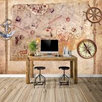Tasarım Piri Reis Haritası Duvar Kağıdı