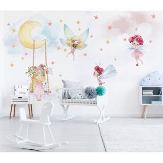 Sevimli Periler Kız Çocuk Odası Duvar Kağıdı