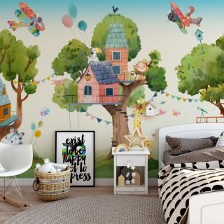 Ağaç Evleri ve Sevimli Hayvanlar Çocuk Odası Duvar Kağıdı