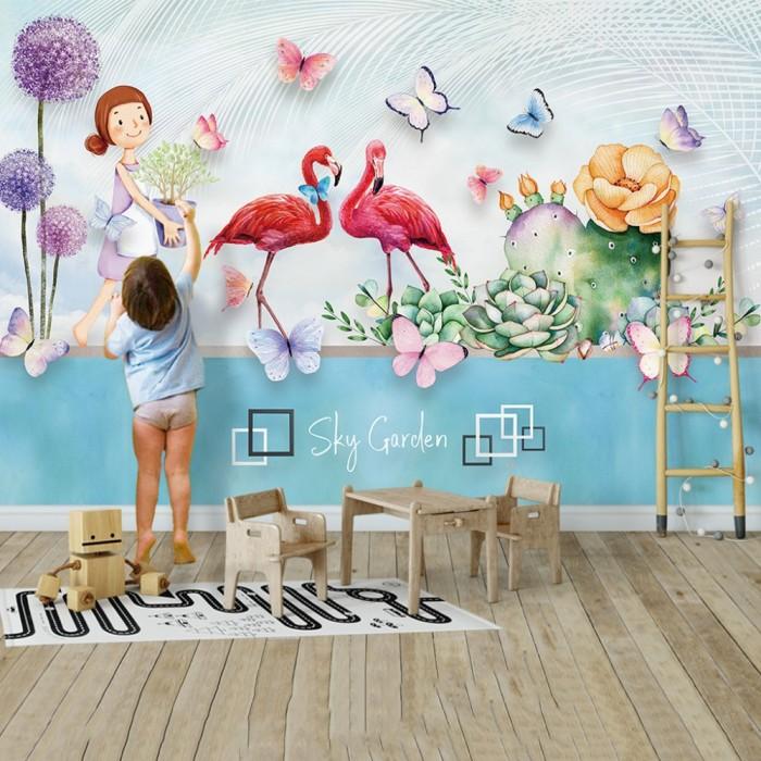 Gökyüzü Bahçesi Flamingolu Çocuk Odası Poster