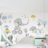 Sevimli Çizgi Fil Çocuk Odası Duvar Kağıdı