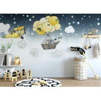 Sevimli Çizgi Filler Çocuk Odası Duvar Kağıdı
