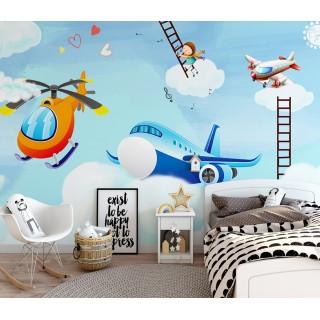 Bulutların Üzerinde Çocuk Odası Duvar Kağıdı