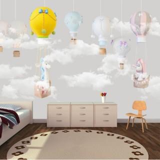 Balonlar Soft Çocuk Odası Duvar Kağıdı Gri