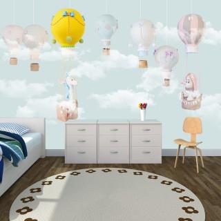 Balonlar Soft Çocuk Odası Duvar Kağıdı Mavi