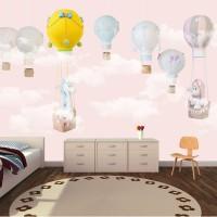 Balonlar Soft Çocuk Odası Duvar Kağıdı Pembe