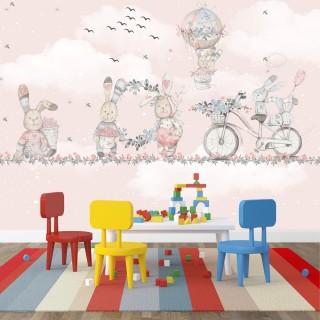 Tavşanlar Eğleniyor Çocuk Odası Duvar Kağıdı Pembe