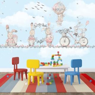 Tavşanlar Eğleniyor Çocuk Odası Duvar Kağıdı Mavi
