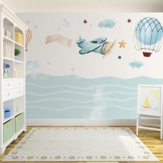 Uçak ve Balonlar Çocuk Odası Duvar Kağıdı