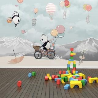 Bisikletli Panda Çocuk Odası Duvar Kağıdı