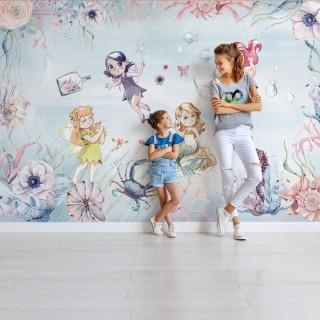 Deniz Kızı ve Periler Çocuk Odası Duvar Kağıdı