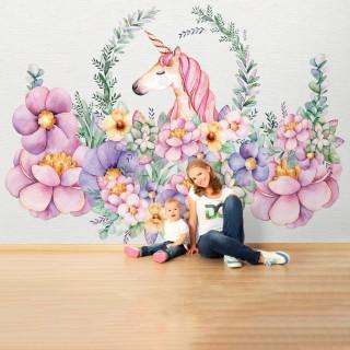 Unicorn Çiçekli Çocuk Odası Duvar Kağıdı