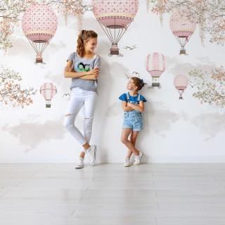 Balonlar Kız Çocuk Odası Duvar Kağıdı