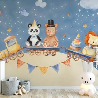 Tren Çocuk Odası Duvar Kağıdı
