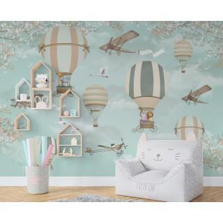 Balonlar Hayvanlar Çocuk Odası Duvar Kağıdı