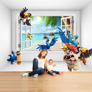 Papağanlar Çocuk Odası Duvar Kağıdı