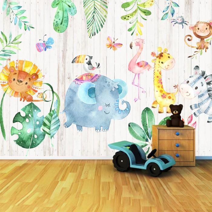 Sevimli Afrika Hayvanlar Çocuk Odası Duvar Kağıdı