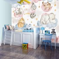 Uyuyan Hayvanlar Bebek Odası Duvar Kağıdı