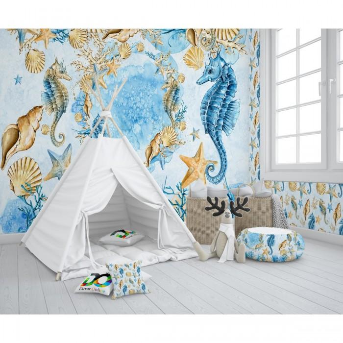 Deniz Atı Çocuk Odası Duvar Kağıdı