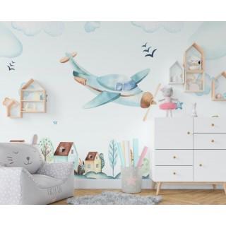 Gökyüzü ve Uçak  Çocuk Odası Duvar Kağıdı