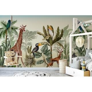 Safari Afrika Hayvanları Çocuk Odası Duvar Kağıdı