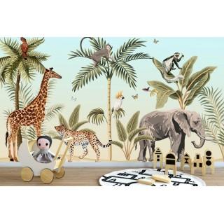 Safari Afrika Hayvanları Çocuk Odası Duvar Kağıdı 2