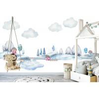 Karlar İçerisinde Sevimli Kasaba Çocuk Odası Duvar Posteri
