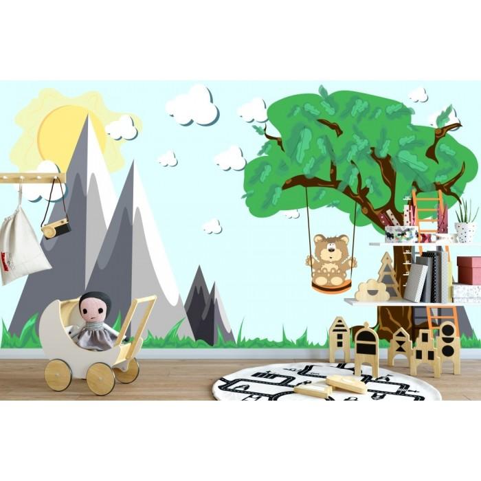 Sallanan Sevimli Ayıcık Çocuk Odası Duvar Kağıdı
