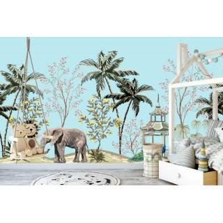 Fil ve Kuşlar Çocuk Odası Duvar Posteri