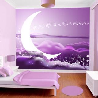 Çocuk Odası Mor Fonlu Gökyüzü Duvar Posteri