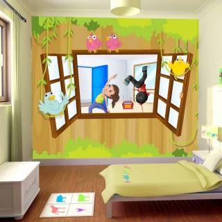 Pencere Ardında Dans Eden Çocuklar Duvar Posteri