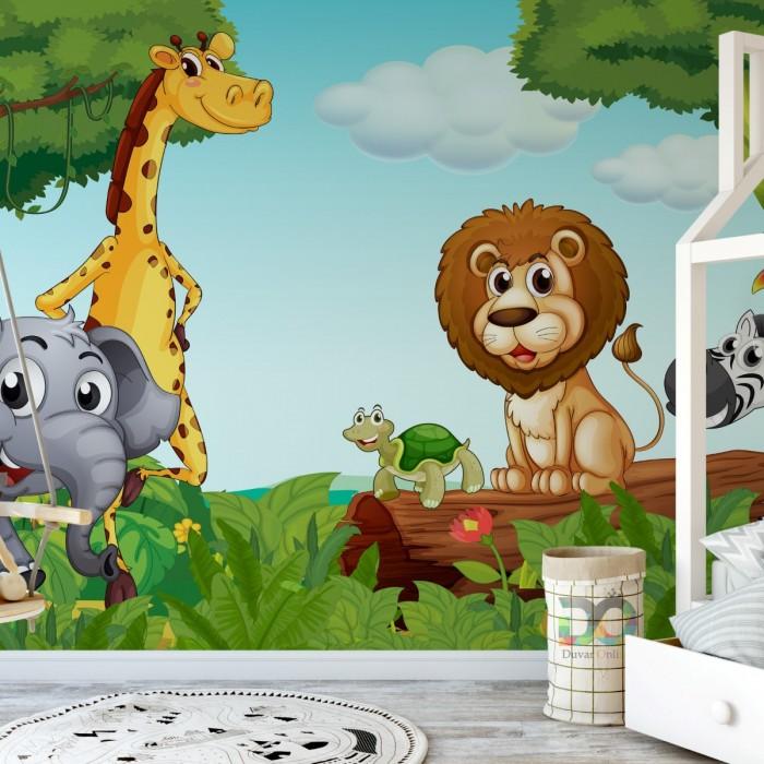 Sevimli Hayvanlar Kreş ve Çocuk Odası Duvar Kağıdı