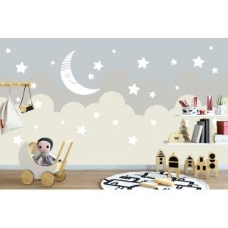 Ay Yıldız ve Bulutlar Çocuk Odası Duvar Posteri
